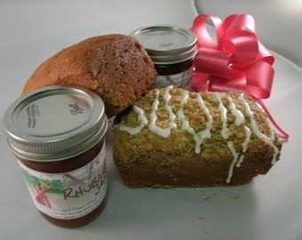 Jam or Jelly and Bread. Gift Pack. Choose 2 breads and 2 jams or jellies FREE SHIPPING of our fruit perserves and fresh baked breads