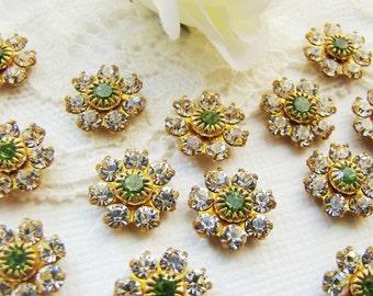 Vintage Swarovski Crystal Rhinestone Flower Brass Findings Clear Crystal Peridot Green  - 4