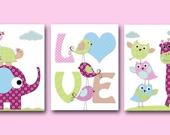 Baby Girl Nursery Art Print Nursery Print Kids Art Kids Wall Art Kids Rooom Decor Giraffe Nursery Owl Nursery Purple Nursery set of 3