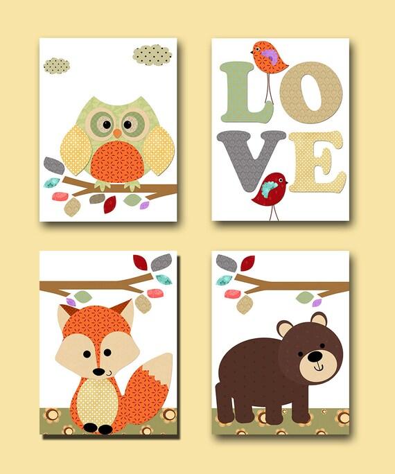 Orange Gray Baby Room Decor Owl Decor Fox Nursery Bear Nursery