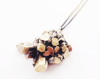 Brass Aragonite Crystal Cluster Necklace