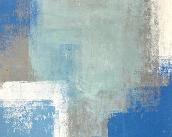 Original Artwork, 2014 - Modern Contemporary Acrylic Abstract Painting Wall Decor Free Shipping Teal Turquoise White 11x14 Paper