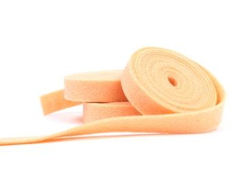 Wool Felt - 100 Percent Wool Felt Ribbon in color APRICOT - 1/2 Inch X 2 Yards - Merino Wool Felt - Orange Ribbon - Apricot Ribbon