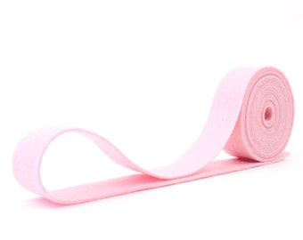"100 Percent Wool Felt Ribbon in color CARNATION PINK - 3/4"" X 2 Yards - Carnation Pink Ribbon"