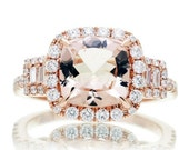 Cushion Cut Three Stone 8x8mm Morganite Engagement Anniversary Ring Diamond Halo Ring