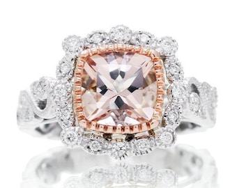 Vintage Design Royal Princess Collection Two Tone Gold 7mm Cushion Bezel Leaf and Vine Engagement Ring