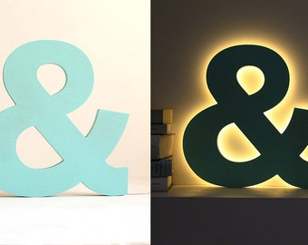 Letter lights LED, wooden & personalised night lamp, custom colors