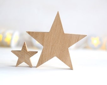 Wooden Stars Oak Wood Ornaments Chrimstas Tree Natural