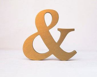 Wooden Ampersand wooden letter gold decorative alphabet wall sign custom colors wedding decor