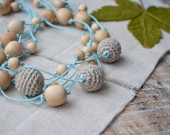 Linen Nursing necklace,Crochet natural wood bead,Breastfeeding beaded,Grey blue green,Rustic Simple necklace,Elegant Eco jewelry,Mothers day