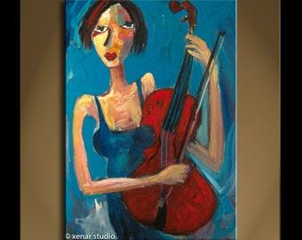 Oil Painting Modern Original Art Impressionist Abstract Portrait SONATA PP34