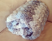 Double thick light blues, grays and white Shell Crochet Baby Blanket,  full crib size.