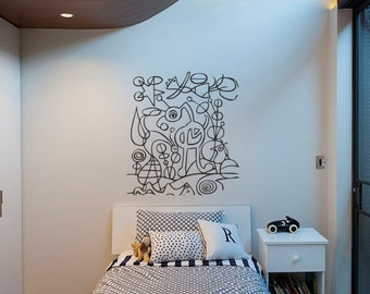 """Wall Art inspired by Joan Miro """"The Garden"""" vinyl wall decal - removable wall sticker for your minimalistic space decor  (ID: 111053)"""