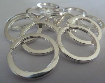 10 x 30mm split ring/key rings - Silver plated