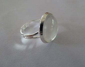 10 x 16mm ring blanks and matching glass domes - Silver Plated