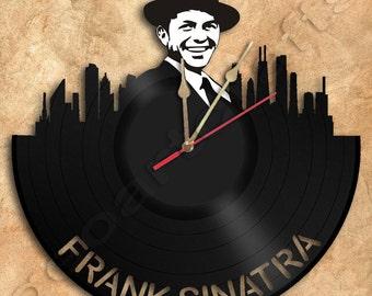 Wall Clock Frank Sinatra  Vinyl Record Clock Upcycled Vinyl