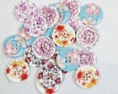 Lot of 10 X-Large Floral Wood Buttons