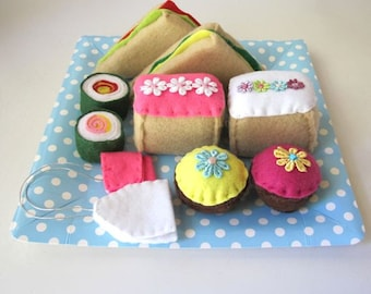 Felt Pretend Food Set, Cake and Sandwiches, Felt Food Sweets