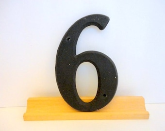 Vintage NUMBER 6 or 9 Plastic Resin 3D House Number 1960s Salvage Art  Mixed Media Supply