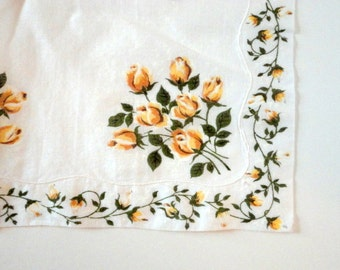 Vintage Hankie Floral Printed Yellow Roses White 1960s Birthday Wedding Gift under 15