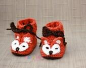 Fox Baby Booties - Fox Booties - Crochet Baby Booties - Crochet Fox Booties - Fox Baby Shoes - Crochet Baby Shoes - Unisex Baby Shower Gift