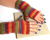 SALE - 25% Off! Multicolor Knit Fingerless Gloves. Knit Wrist Warmers. Colorful Arm Warmers. Hand Knit Gloves. Knit Mittens. Winter Gloves.