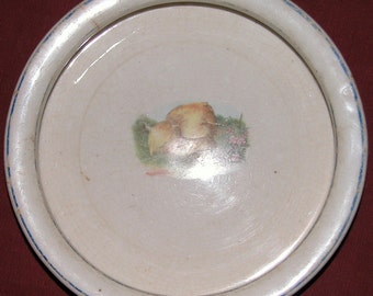 Ceramic Baby Feeding DISH Adorable Early Bowl w Little Chick & Worm Ceramic Children's Pottery