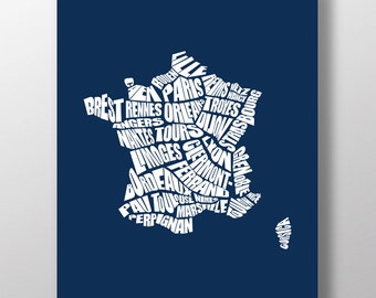 France Word Map - A typographic word map of France