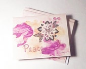 Peace cards; 5 pack of blank cards; Grey poinsettia blank cards; Holiday cards; Peace note cards