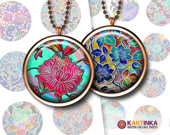 30mm & 1 inch 25mm printable FLORAL PATTERNS V.4 Digital round images for round pendants bezel trays glass cabochon mountings cameo settings