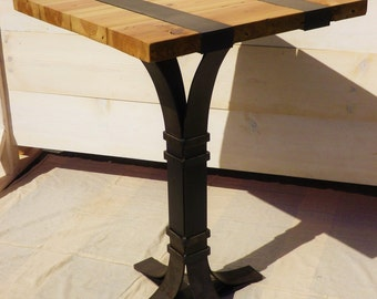 Reclaimed wood and welded iron pub table
