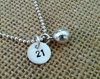 Baseball Mom Necklace,  Kids Baseball Number Necklace,  Baseball Team Necklace,