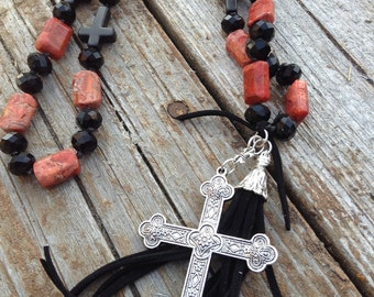 Extra long western sponge coral, black magnedote and black crystal cross and tassel necklace