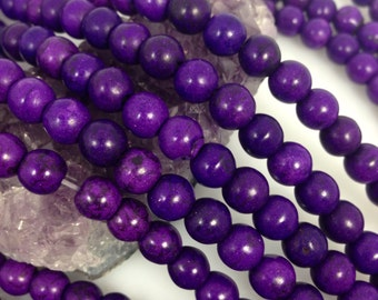Lot of 5 strands 8mm Violet Purple Howlite Turquoise Loose Spacer Beads Round 15.5 inch strand (BD4649)