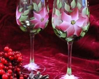 Hand Painted Christmas Wine Glasses (Set of 2) - Red/Pink Poinsettia