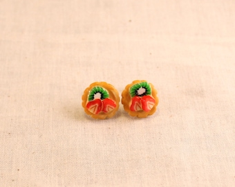 Fruit Tart with Kiwi and Strawberry Post Earrings Polymer Clay