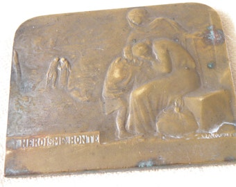 RARE WWI French Bronze Plaque 1917 - Hallmarks