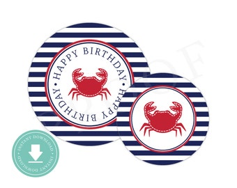 INSTANT DOWNLOAD Crab Party Circles (Nautical Birthday Decor, Boys Nautical, Printable Party Circles, Printable Crab Decorations, Red Crab)