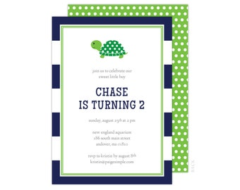 Turtle Party Invitation (Turtle Birthday Invitation, Boys Turtle Party, Navy Turtle Invitation, Blue and Green Invitation, Preppy Turtle)