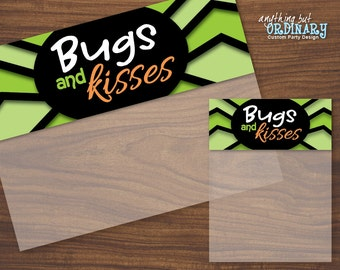 Bugs and Kisses Bagtoppers, Editable Halloween Treat Bag Labels, INSTANT DOWNLOAD printable digital file