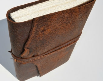 Distressed Pigskin Leather Bound Journal Custom-Made-to-Order Adventure Diary Notebook (381D)