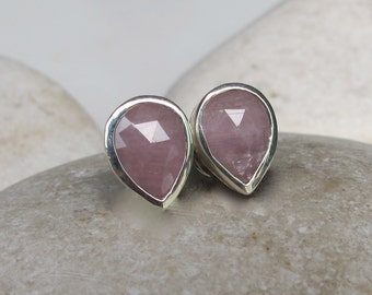Pink Sapphire Stud- Pear Shaped Sapphire Earring- Classic Sapphire Earring- Simple Stud Earring- September Birthstone Earring- Pink Earring