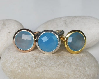Something Blue Ring- Blue Statement Ring- Blue Chalcedony Solitaire Ring- Rose Gold Ring- Ring- Round Faceted Silver Ring