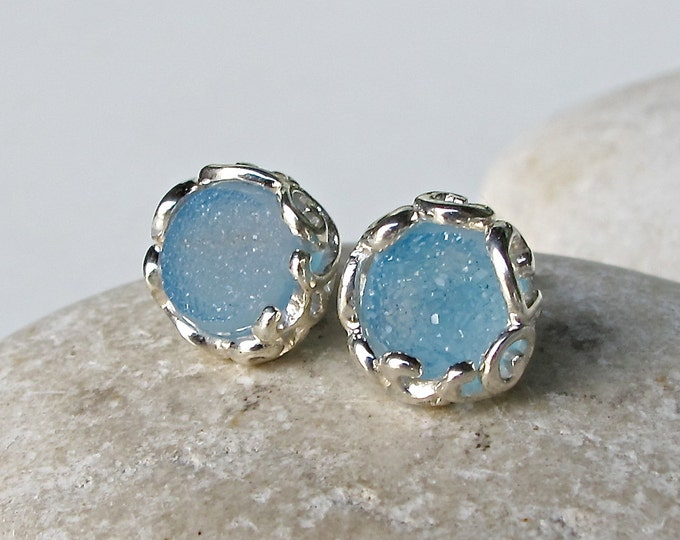 Round Blue Druzy Earring- Classic Bridesmaid Stud Earring- Aqua Blue Earring- Something Blue Earring- Filigree Frame Silver Earring