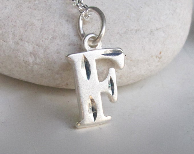Initial F Necklace- Charm Necklace- Silver Initial Necklace- Statement Necklace- Minimalist Necklace- Necklaces