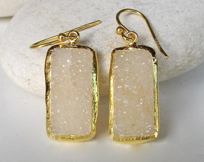 White Druzy Earrings- Druzy Earrings- Statement Earrings- Druzy Earring- Gemstone Earrings- Gifts for Her- Bridal Earring- OOAK Earrings