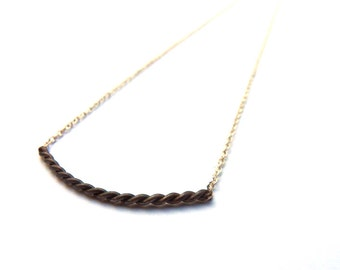 Black Or White-Silver wire twisted black necklace and grey chain
