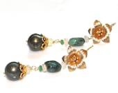 Green Tahitian Pearl Earrings Green Pearls Ethiopian Opal Earrings Emerald Jewelry Rustic Emerald Earrings Flower Earrings