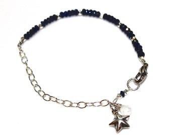 Sapphire Bracelet Silver Chain Star Bracelet Sapphire Stacking Bracelets FizzCandy Spring Style Trendy Jewelry Silver Star Jewelry