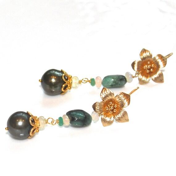 Green Tahitian Pearl Earrings Green Pearls Ethiopian Opal